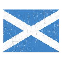 Abgeriebene und verkratzte schottische Flagge Postkarte