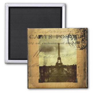 Abgestempeltes Paris Quadratischer Magnet