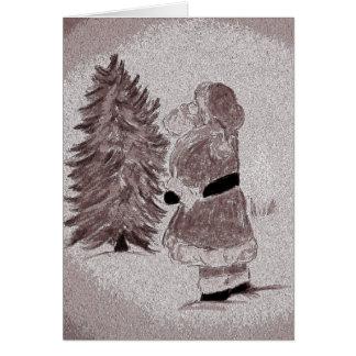 Abgetönter Weihnachtsmann und Baum Karte