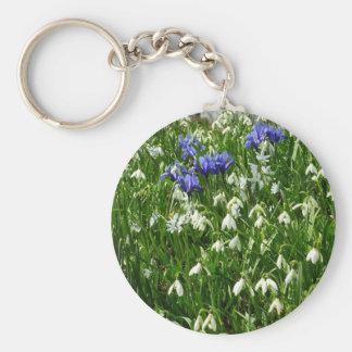 Abhang der frühen Frühlings-Blumen-Landschaft Schlüsselanhänger