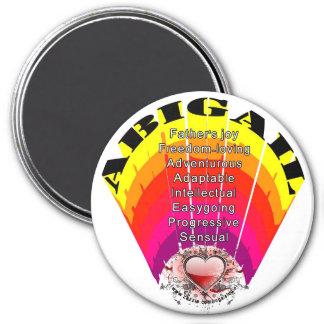 ABIGAIL-Mädchen-Name auf rundem Magneten Runder Magnet 7,6 Cm