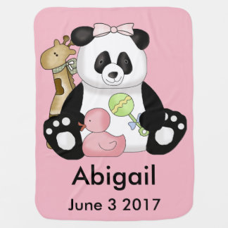 Abigails personalisierter Panda Kinderwagendecke