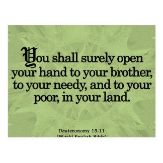 Ableistung von Sozialstunden Deuteronomy 15-11 Postkarte