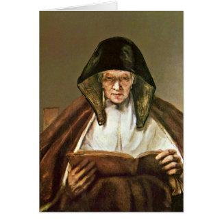 Ablesen der alten Frau durch Rembrandt Van Rijn Karte