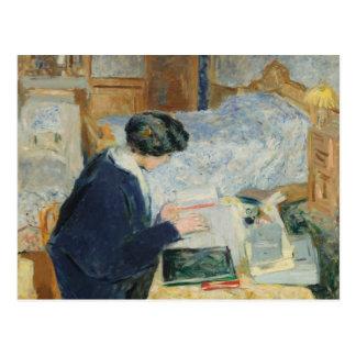 Ablesen neben ihrem Bett Postkarte