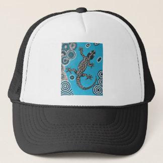 Aboriginal Art, Gecko, Punktmalerei, Dot-Painting Truckerkappe