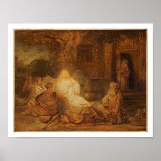 Abraham empfängt die drei Engel 1646 Öl auf PA Plakate
