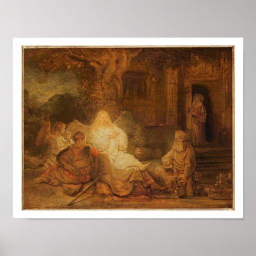 Abraham empfängt die drei Engel, 1646 (Öl auf PA Plakate