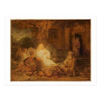 Abraham empfängt die drei Engel, 1646 (Öl auf PA Postkarte