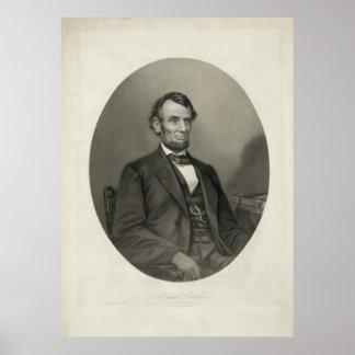 ABRAHAM LINCOLN-Porträt durch J.H. Bufford u. Poster
