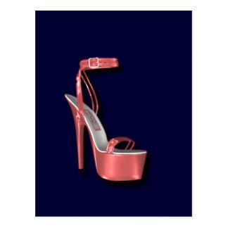 Absatz-Damen-Schuh-Rosa glänzend Postkarte