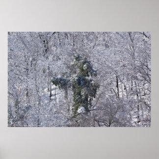 Abscheuliches Baum-Monster im Schnee-Plakat Poster