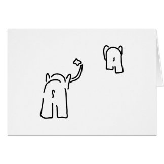 Abschied mit Taschentuch von Paar von Elefanten Grußkarte