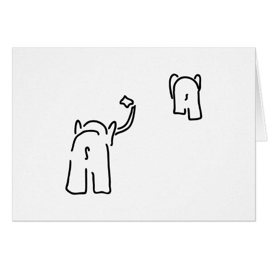 Abschied mit Taschentuch von Paar von Elefanten Karte
