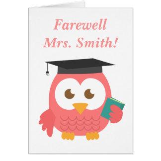 Abschied zum Lehrer, niedliche Lehrer-Eule Karte