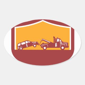 Abschleppwagen-Schleppen-Auto-Schild Retro Ovaler Aufkleber