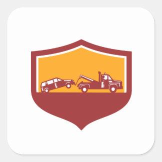 Abschleppwagen-Schleppen-Auto-Schild Retro Quadratischer Aufkleber