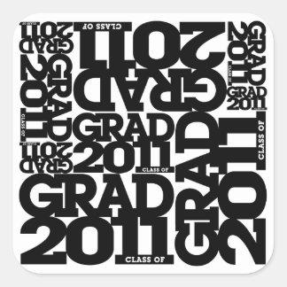 Abschluss-Aufkleber 2011 1 Quadrat-Aufkleber