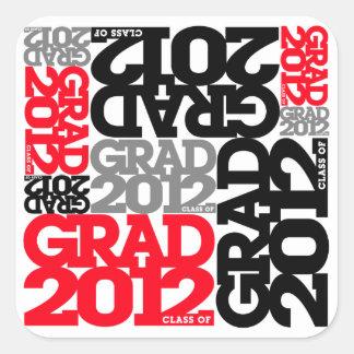 Abschluss-Aufkleber-schwarzes Rot 2012 Quadrat-Aufkleber