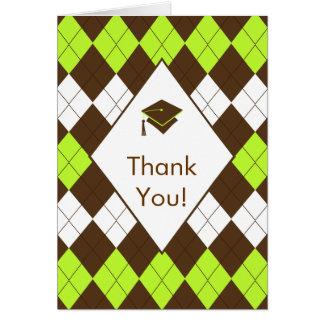 Abschluss danken Ihnen grüne Raute Karte