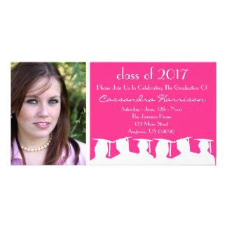 Abschluss-Einladungs-Foto-Karte (rosa Silhouette) Karte