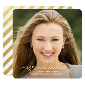 Abschluss-Foto-Mitteilungs-Goldskript-Überlagerung Quadratische 13,3 Cm Einladungskarte