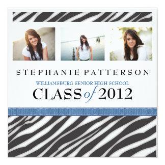 Abschluss-Glamour-Mädchenzebra-Druck mit Blau Quadratische 13,3 Cm Einladungskarte