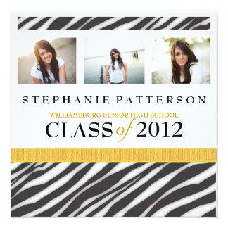 Abschluss-Glamour-Mädchenzebra-Druck mit Gold Quadratische 13,3 Cm Einladungskarte