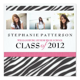 Abschluss-Glamour-Mädchenzebra-Druck mit heißem Quadratische 13,3 Cm Einladungskarte