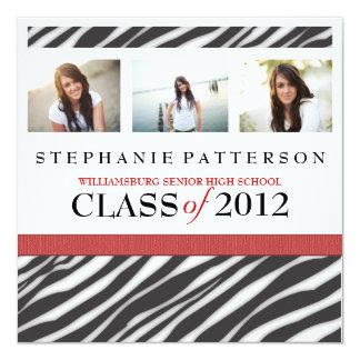 Abschluss-Glamour-Mädchenzebra-Druck mit Rot Quadratische 13,3 Cm Einladungskarte