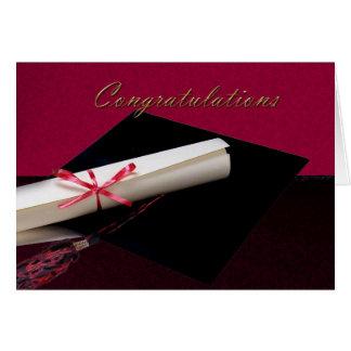 Abschluss-Glückwünsche rot und schwarz Karte