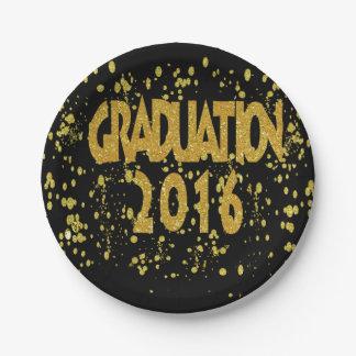 Abschluss-GoldConfetti 2016 auf Schwarzem Pappteller