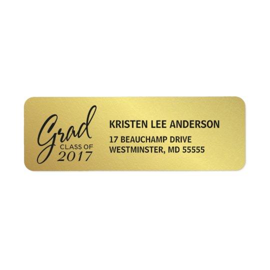 Abschluss-Imitat-Goldfolien-elegante Handschrift Rückversand-Adressaufkleber