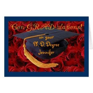 Abschluss-Kappe+Rose-Fertigen Sie Namen und Grad Grußkarte