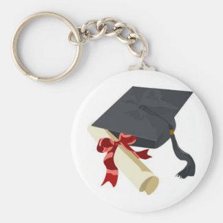 Abschluss-Kappe u. Diplom Standard Runder Schlüsselanhänger