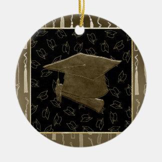 Abschluss-Kappe und Diplom-Mausunterlage, Brown, Keramik Ornament