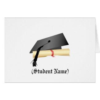 Abschluss-Kappe und Diplom, personalisiertes Karte