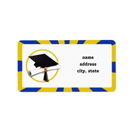 Abschluss-Kappe w/Diploma - Gold u. Blau Adressaufkleber