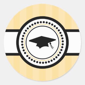Abschluss-Kappen-Streifen-Aufkleber (Gold) Runder Aufkleber