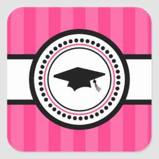 Abschluss-Kappen-Streifen-Aufkleber (heißes Rosa) Quadratischer Aufkleber