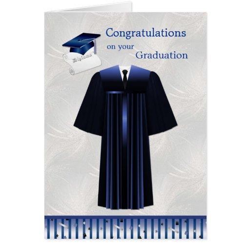 Abschluss-Karte mit Mörser, Kleid und Diplom