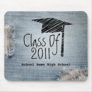 Abschluss-Klasse von 2011 verblaßte blaue Jeans Mousepad
