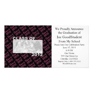 Abschluss - Klasse von 2012 - Rosa und Schwarzes Fotokartenvorlagen