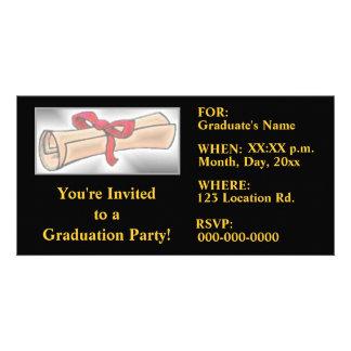 Abschluss-Party Einladungen - Schwarz-Gold Photo Karten Vorlage