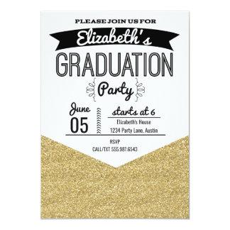 Abschluss-Party Einladungs-GoldGlitter und Karte