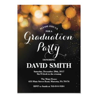 Abschluss-Party Einladungs-Karten-GoldGlitzer Karte