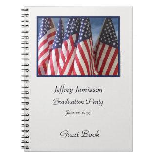 Abschluss-Party-Gast-Buch, amerikanische Flaggen Notizblock