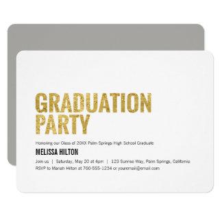 Abschluss-Party, Goldbuchstaben Karte