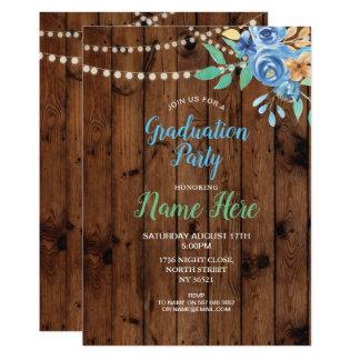 Abschluss-Party-Holz lädt blaues Blumen-Aqua ein Karte