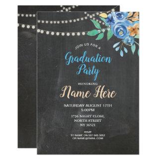 Abschluss-Party-Kreide laden blaues Blumen-Aqua Karte